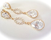 Crystal Earrings - Long - Gold- Cubic Zirconia's - Bridal jewelry - Brides earrings - Sparkles like Diamonds - As Worn On MISS TEEN USA