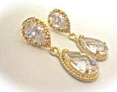 Gold teardrop earrings - Cubic Zirconia's 14k gold over sterling posts - Clear ~ Maid of honor, Bridesmaids, Birthday ~ Gift ~ Sharp
