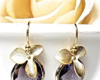 Amethyst Earrings - Gold orchid earrings - Elegant Jewelry - February's birthstone - Bridal jewelry - Bridesmaids - gift-