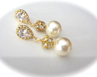 Chunky gold pearl earring, Swarovski pearl earrings, Brides earrings,Bridesmaids earrings,Gold wedding earrings,Chunky gold earrings, LOLITA
