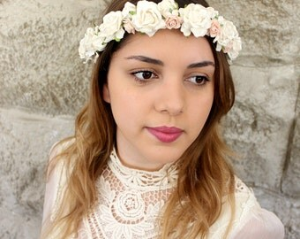 Light Ivory and Blush Flower Crown, bridal crown, floral crown, Woodland, spring, white and pink,rustic, weddings, Hair Accessories