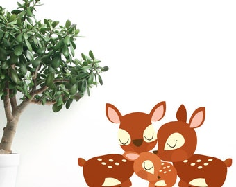 Deer Family Removable Wall Sticker | LSB0094WHT-MBZ