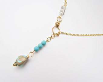 Turquoise Lariat Necklace. Turquoise Y Necklace. No Clasp Necklace. Silver/Gold Asymmetrical Necklace. December Birthstone Jewelry