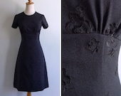 Vintage 70's Mod Black Widow Rose Embroidery Sheath Dress XS