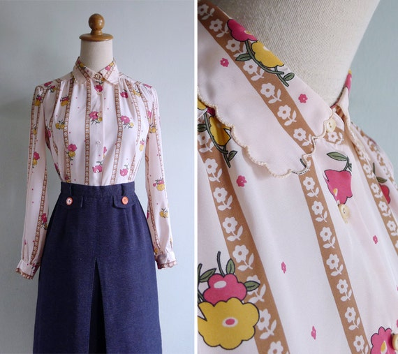 Vintage 80's Scallop Collar Pink Kitschy Floral Stripe Blouse S or M