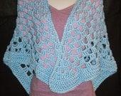 Hand Crocheted Wrap Shawl in Light Blue