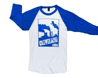 Fine Jersey Raglan Baseball Tee - Cleveland Smokestacks (White and Royal Blue)