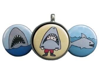 Shark Necklace Set - Set of Three Interchangeable Magnetic Shark Pendants