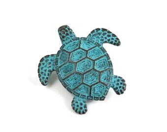Mykonos Sea Turtle  - 43mm Green Patina - Verdigris Turtle Pendant