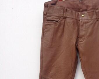 Mens leather pants, brown vintage leather biker motorcycle pants 41
