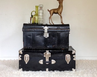 Antique car trunk, black metal touring trunk, industrial rustic decor