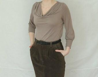Vintage Bagatelle Brown Leather Skirt Size 8