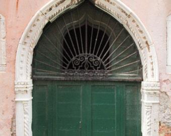 Venice Photograph, Romantic Art, Gothic Arch, Pink Photograph, Green Door, Gondola Photography, Italian Decor, Italy Photograph, Shabby Chic
