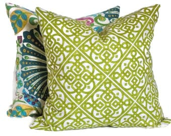 Waverly Fern Green Decorative Pillow Cover 18x18, 20x20, 22x22, or 14x20 Lumbar Pillow Lattice Throw Pillow Accent Pillow Pillow Sham