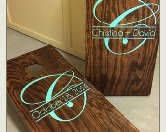 Wedding Day Monogram and Personalized Vinyl Decal Set for Cornhole Game Boards