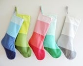 Monogrammed Christmas Stocking Personalized Initial Modern Striped Colorblock Winter Wonderland Boy Girl Silver Gray Teal Pink Blue Green