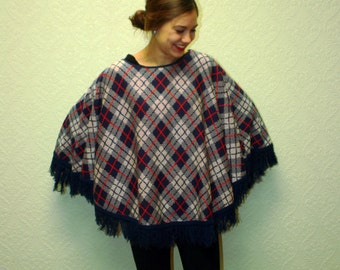 vintage poncho acrylic 1960s 70s red white and blue Plaid fringed poncho