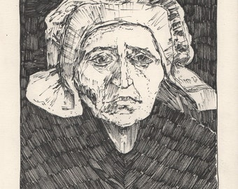 "van Gogh's Head of an Old Peasant Woman with White Cap. Ink on Paper. 8"" x 10.5"