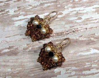 Owl Earrings, Brown Owl Earrings, Swarovski Earrings, Crystal Owl Earrings, Fall Earrings, Autumn Earrings, Holiday Earrings, Owl Jewelry