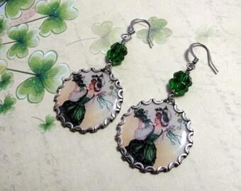 St. Patrick's Day Earrings, Clover Earrings, Green Earrings, Good Luck Earrings, Shamrock Earrings, Vintage Postcard Earrings, Irish Earring