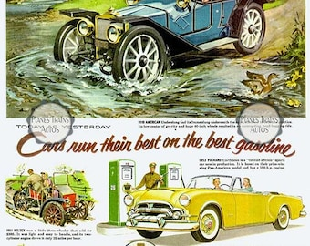 Vintage Packard Ethyl 1953 Auto Poster print. Packard, American, Kelsey, Wills Siante Claire. 1950s automobile advert. Instant Download.