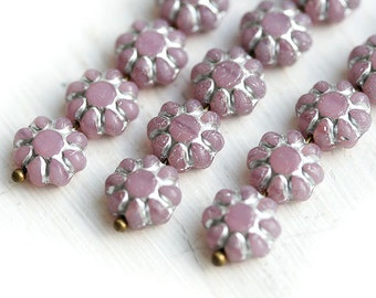 Flower beads, czech glass flat daisy - Lilac with Silver inlays, light violet - 9mm - 20Pc - 0719