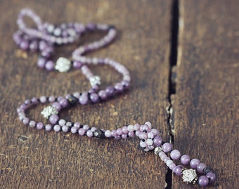 Hand Knotted Silk Necklace with Jade Gemstones - Long Purple Beaded Lariat Necklace, Opera Length
