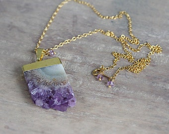 Amethyst Stalactite Pendant Necklace - Amethyst Slice Pendant on Gold Filled Necklace Chain