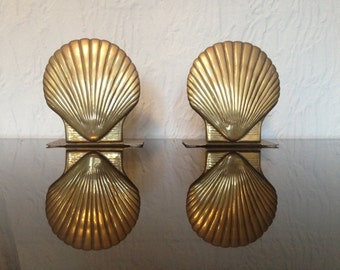 Pair of Brass Seashell / Shell Nautical theme Hollywood Regency Bookends