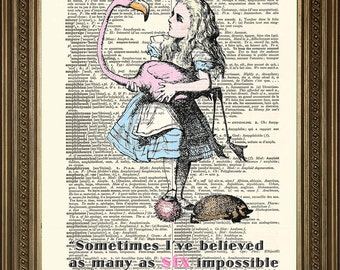 "Prints on Dictionary Paper: SIX IMPOSSIBLE THINGS Alice in Wonderland Original Antique Art Print (8 x 10"")"