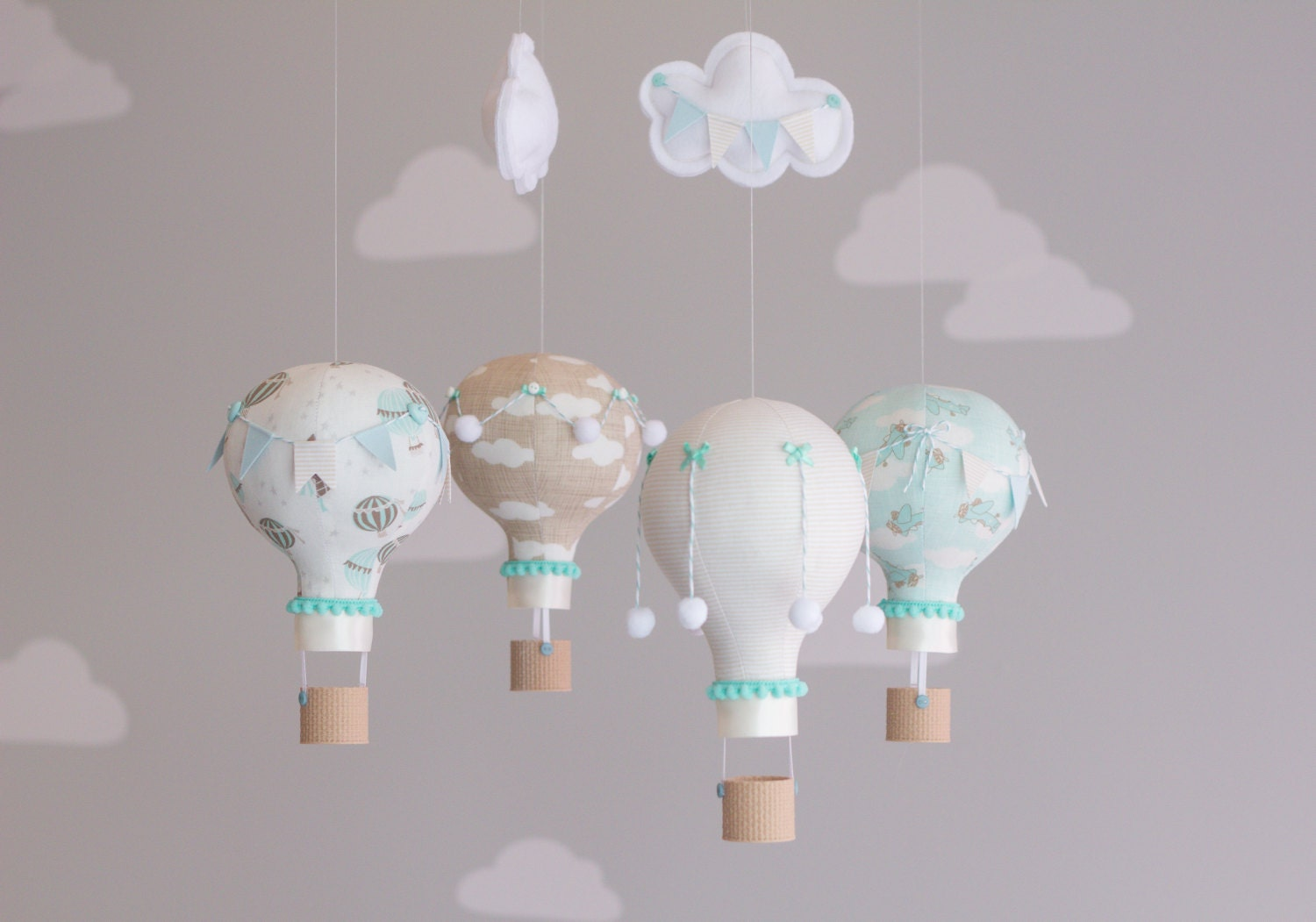 Hot Air Balloon Baby Mobile Vintage Travel Theme Nursery