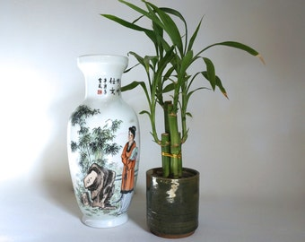 Beautiful Hand Painted Japanese Vase - Japanese Woman Outdoors  with Fan and Bamboo