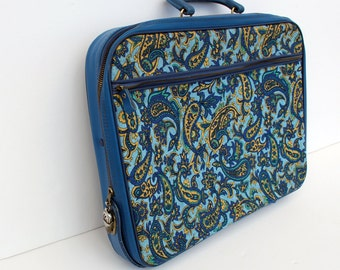 Vintage Suitcase Blue Paisley Luggage Soft Side Tote Boho Overnight Case