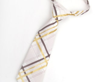 Taupe and gold plaid necktie, taupe tie, boys tie, toddler tie, baby tie, taupe boys tie, ringbearer outfit, tauper and gold tie,