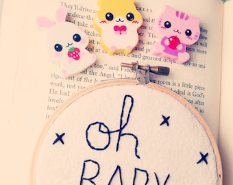 Oh Baby - Felt Hoop Art - Embroidery Hoop  Art - Black and White - Wall Art - Baby Room - Adorable Baby Gift