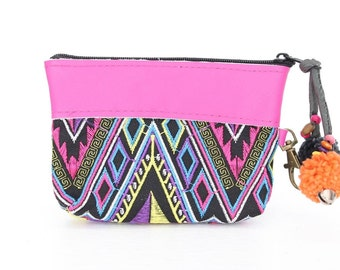 Multi-Colored Embroidered Pink Leather Wallet Thailand ( (BG290LWEL-13C2)