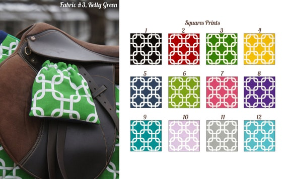 MADE TO ORDER - Squares Print Reversible Stirrup Covers Many Colors