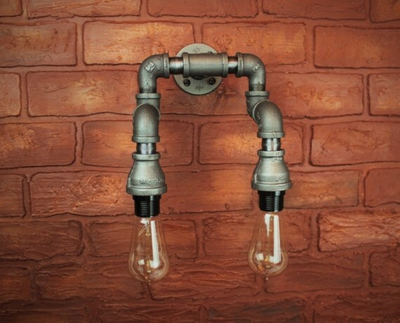 Items similar to Industrial pipe wall sconce - 2 Bulb Hallway light fixture, Steampunk Double ...