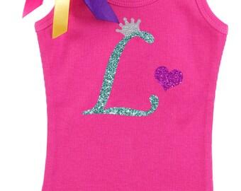 Girls Birthday Shirt, Personalized Initial L, Princess Crown Initial, Monogrammed L, Girls Birthday Shirt, Letter L Monogram, Name on Shirt