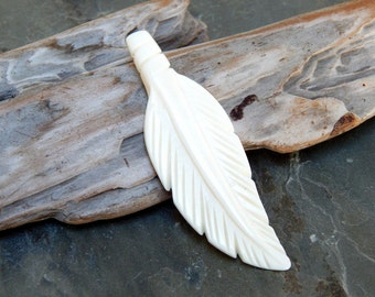2 1/2 Inch Carved Bone Feather Pendant, 1 PC (INDOC49)