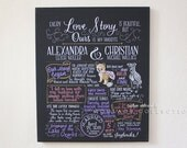 """Our Love Story, custom drawing for wedding, 20""""x24"""" canvas, Favorite Things Poster™ for couple"""