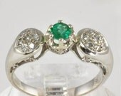 Diamond Emerald Engagement Ring - 18K White Gold - 1/3 carat Emerald and Pave Diamonds - Vintage - Size 7 - Green Emerald Gold Ring for Her