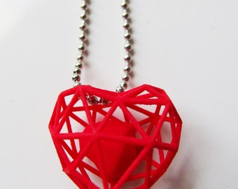 3D printed wireframe heart necklace - Red