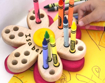 Personalized Wooden Crayon Holder - Spinning Daisy - by Hill Country Woodcraft