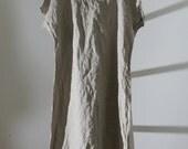 Linen Tunic Dress / Smock / short sleeves