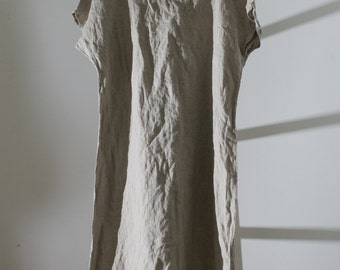 Linen Tunic Dress / Smock / short sleeves