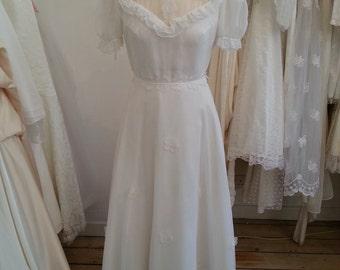 Pansy Chiffon Vintage Wedding Gown Circa 1970's