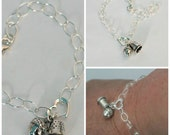 Acorn and Thimble Solid Sterling Silver Bracelet, Peter Pan and Wendy Hidden Kisses