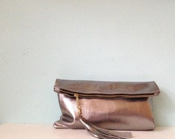 Silver leather clutch purse, metallic fold over clutch, ipad bag