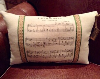 Bit O' Blarney Irish Musical Score Decorative St. Patrick's Day Pillow